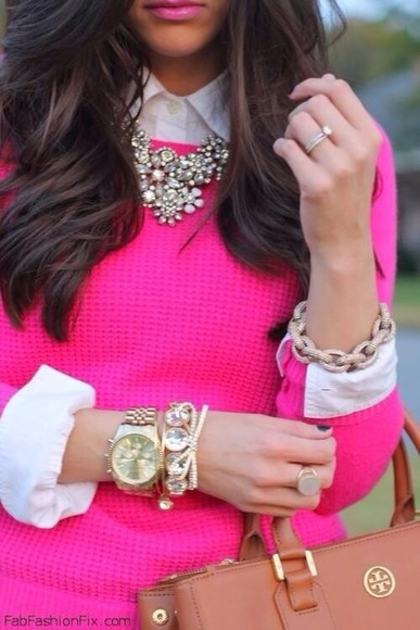 sweater hot pink jewels