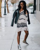 jacket,leather jacket,sneakers,black and white,dress,fringed dress