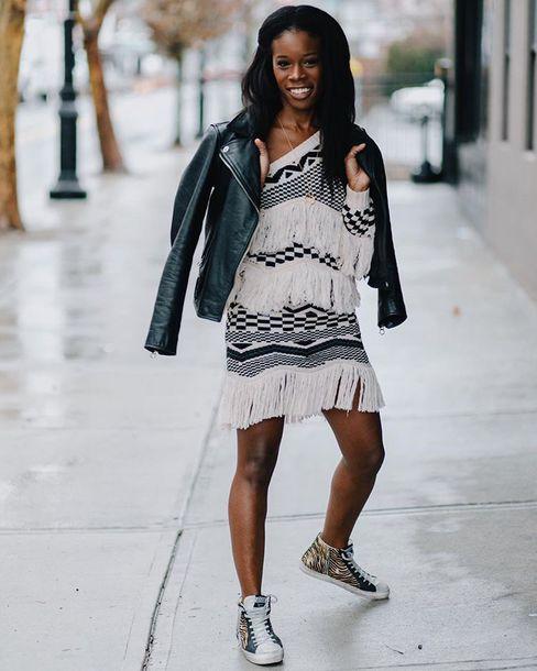 jacket leather jacket sneakers black and white dress fringed dress