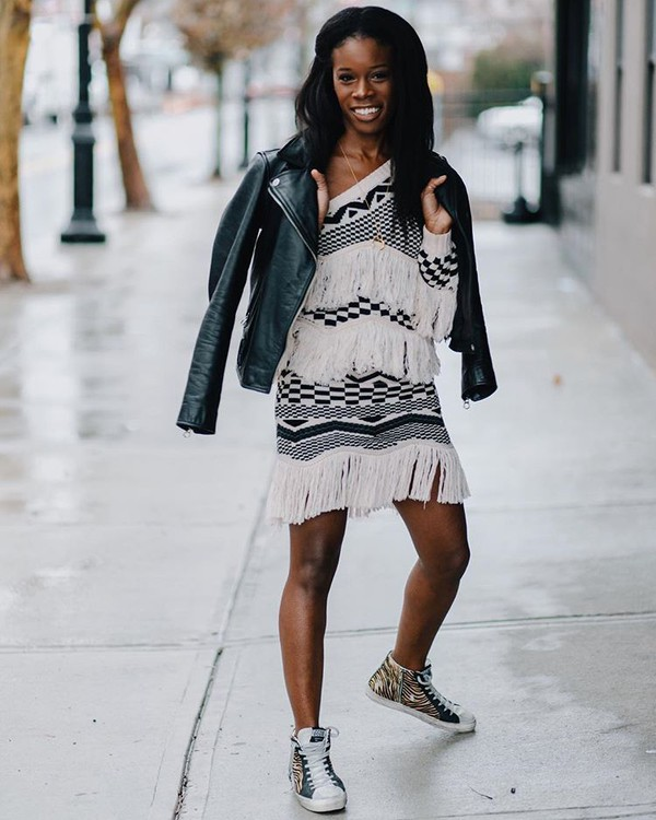 jacket leather jacket sneakers black and white dress fringed dress