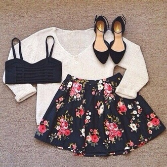 skirt flowers outfit knit top