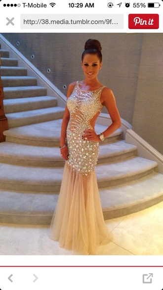 dress nude prom dress sheer dress sparkly dress bedazzled mermaid prom dress tulle prom dress