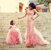 dress,similar dress,pink dress,dress for girls and mom,pink,ruffle,mermaid prom dress,little girl dress,puffy,mother and child,pageant evening dress,pageant dress,prom dress,evening dress,flower girls dress,flower girl dresses,wedding dress,pink wedding dress,flower girl dress,red carpet,long prom dress,pink lace with sequins