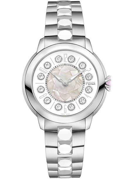 Fendi - watch wit topaz details - women - Topaz/metal - One Size, Grey in metallic