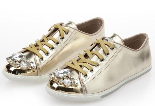 shoes, miu miu, sneakers, gold