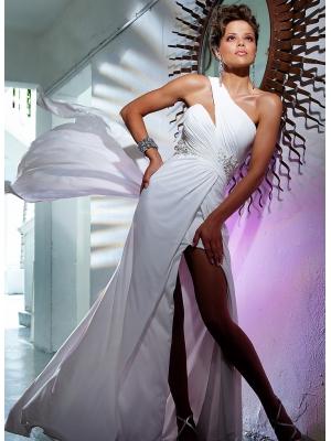 Buy Tempting One-shoulder Side Split Court Train Applique Evening Dress under 200-SinoAnt.com