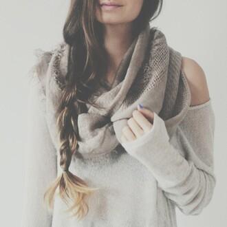 sweater grey beige scarf grey scarf grey sweater cute sweater scarf pretty warm sweater warm beige sweater beige