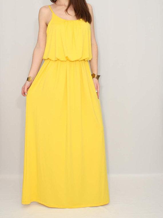 Yellow dress maxi dress summer bridesmaid dress