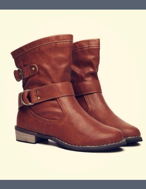 shoes ankle boot tan color