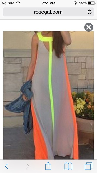 maxi dress neon neon dress neon yellow grey dress long dress summer dress