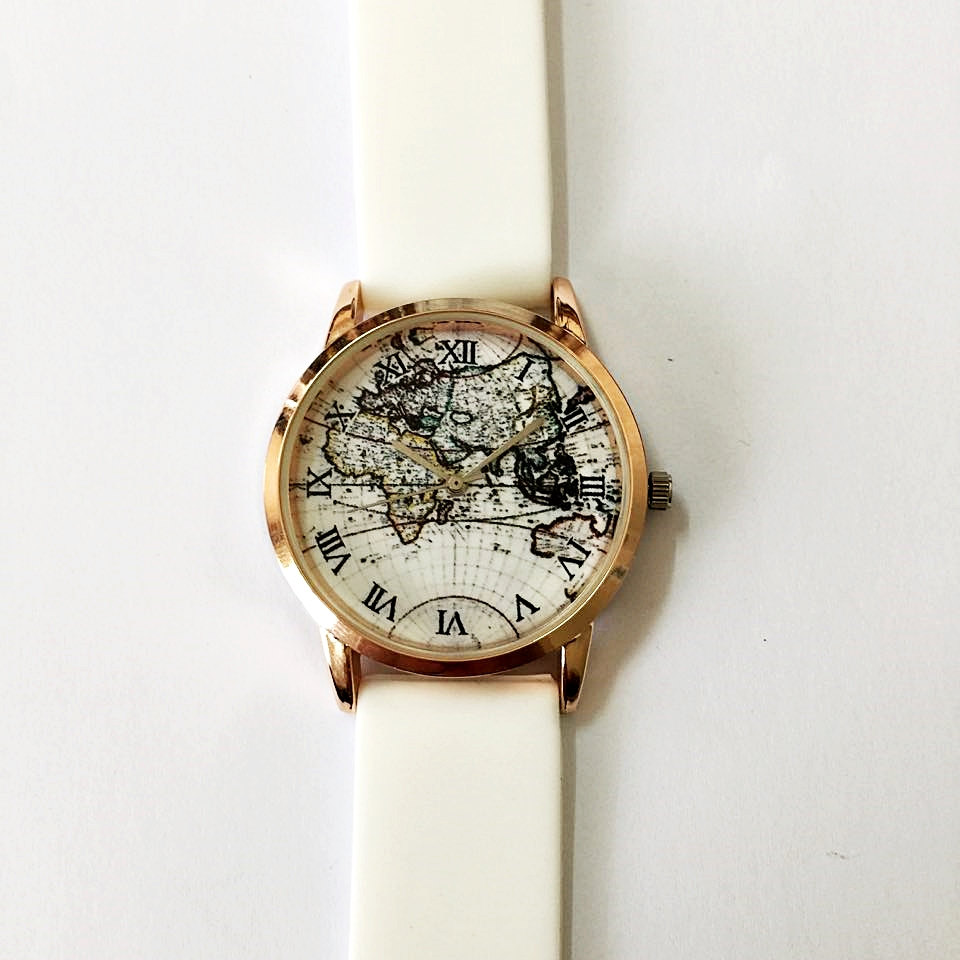 s world map watches vintage style