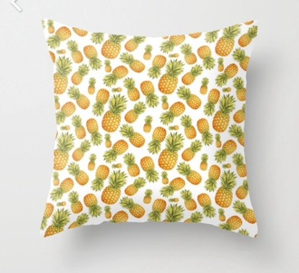 home accessory pineapple print pillow white orange green hipster