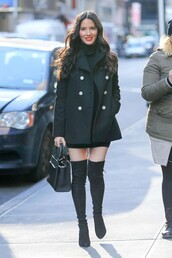 coat,black dress,black,mini dress,boots,olivia munn,purse,over the knee boots,fall outfits,all black everything,dress