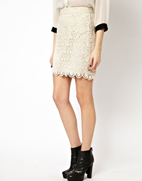 French connection lisella lace skirt at asos