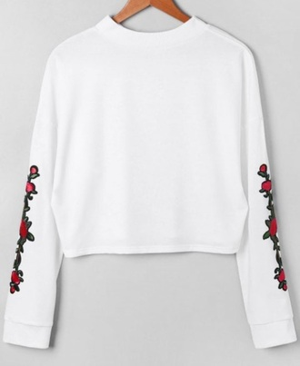 sweater embroidered girly white sweatshirt floral flowers