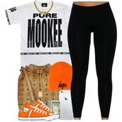 shirt,black and white,tights,leggings,nookie,mookie,hype,mcm bag,mcm,orange,converse,chuck taylor all stars,ski hat,gold,gold chain,iphone,black,white,low top sneakers,dope,urban,lovable,school outfit,money,purse,jersey,hat,lazy day,yulema
