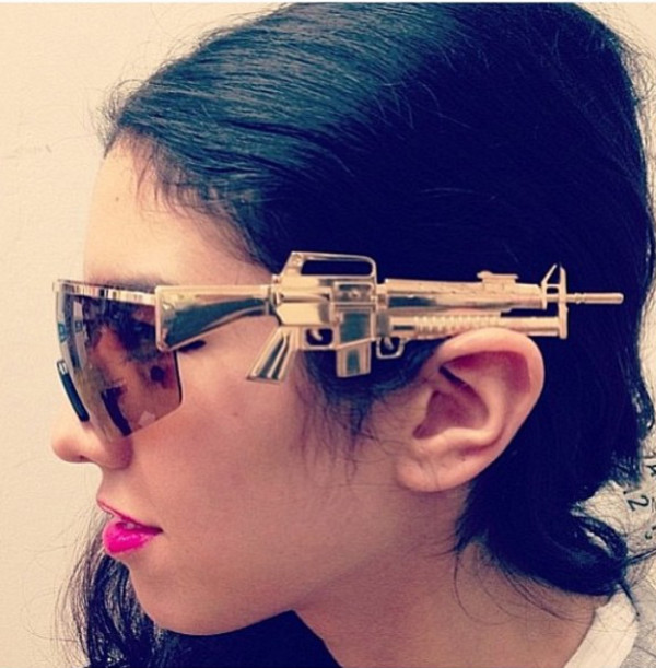 sunglasses gold gun