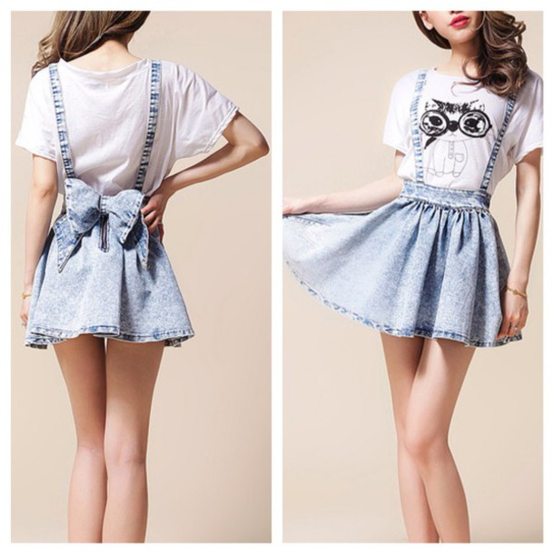 skirt cute denim bows kawaii fashion clothes girly