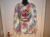 adidas,tie dye,acid wash,sweatshirt,jumper