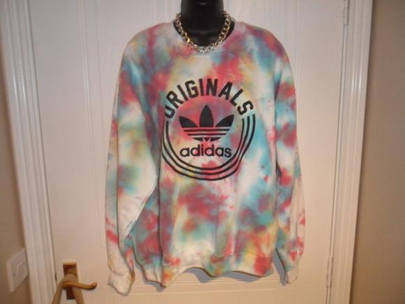 tie dye adidas acid wash sweater jumper