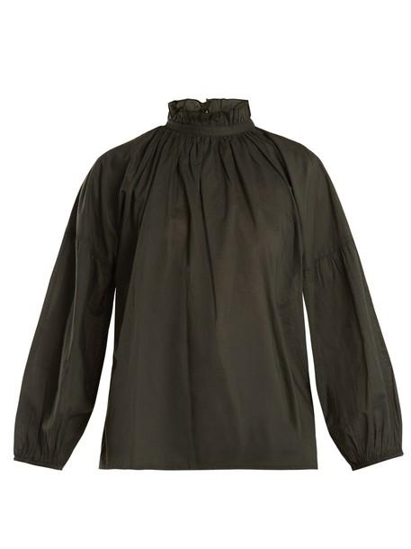 blouse ruffle cotton khaki top