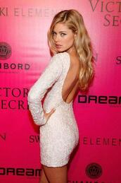 dress,white dress,cute dress,sequin dress,homecoming,victoria's secret,victoria's secret model,white,sparkle,white lace dress,white lace,short dress,long sleeves,tight,open back,lace,short,doutzen kroes,low back dress,little white dress