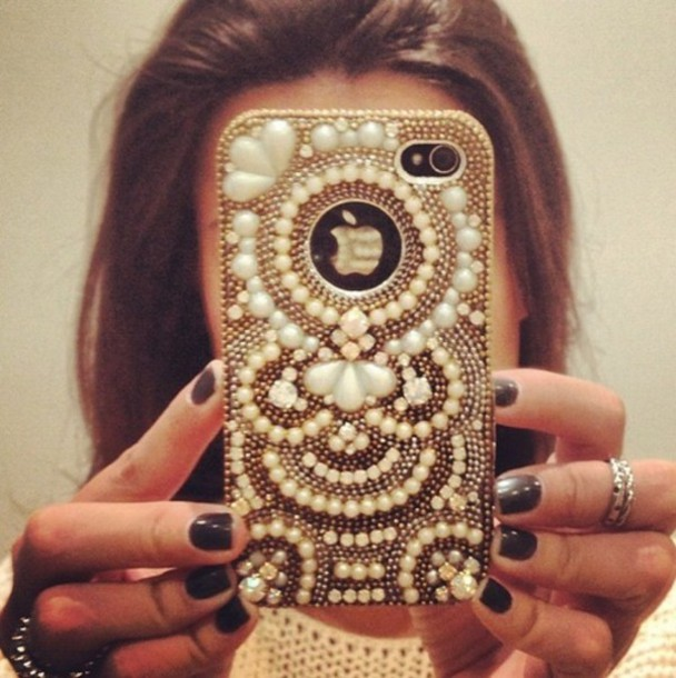 jewels beaded phone cover iphone cover pearl iphone 5 case