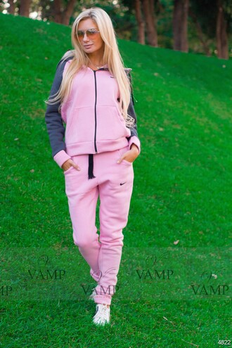 sweater fashion style jacket pink pants nike hoodie grey sportswear tracksuit jumpsuit sweatsuit