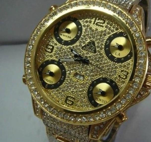 jewels clock gold black shiny watch