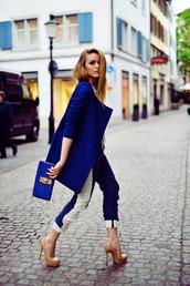 clutch,high heels,pumps,forever 21,h&m,blue,coat,pants,blue coat,cropped pants