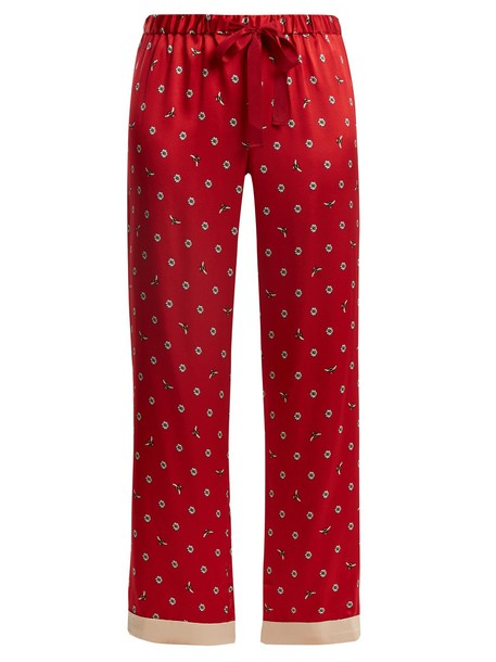 MORGAN LANE daisy print silk red pants