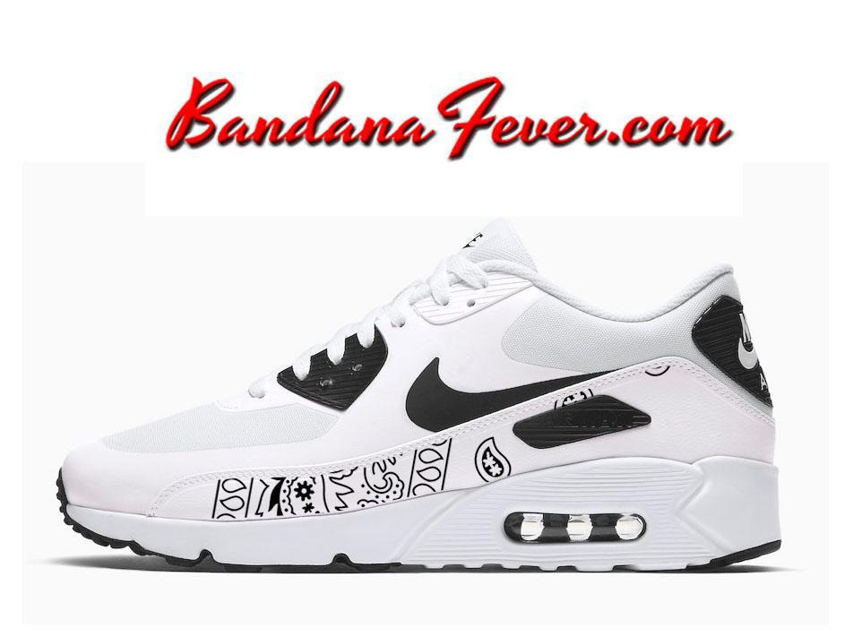 9fad0cb824bb4b Custom Black Bandana Nike Air Max 90 Ultra Shoes White Black ...