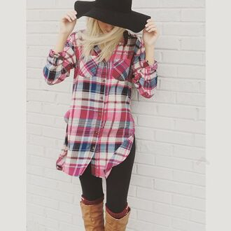 top fall outfits boho plaid collared shirt button down flannel magenta navy floppy hat boot socks boots love chic casual tall boots leggings pockets layering essential fall essential