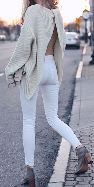 sweater clothes white women open back blogger all white everything