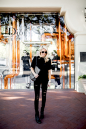 krystal schlegel,blogger,sweater,shoes,sunglasses,bag,black top,ripped jeans,black jeans,aviator sunglasses