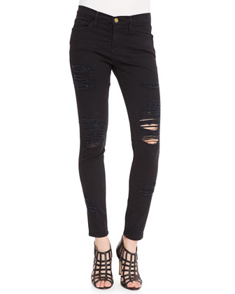 Frame Denim Le Color Rip Skinny Jeans, Film Noir - Neiman Marcus