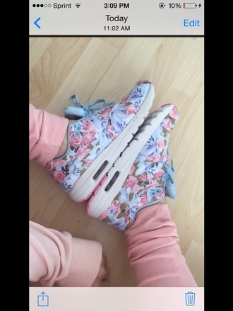 shoes nike pink blue floral