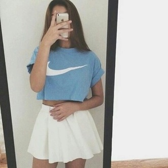 top t-shirt blue blue top nike white t-shirt white top crop tops white skirt white skater skirt white skater skirt girly nikes white crop tops