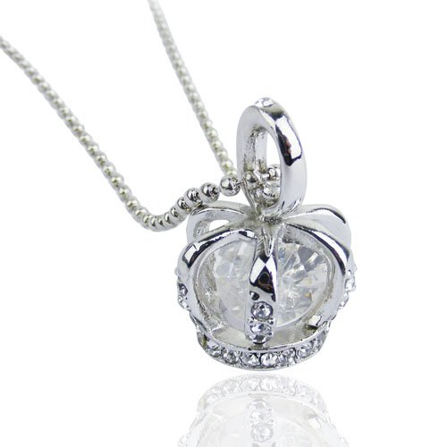 3D Silver Rhinestone Crown with crystal pendant long Necklace-in Pendant Necklaces from Jewelry on Aliexpress.com