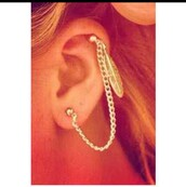 jewels,piercing,cartilage,dangle,feathers,jewelry,boho jewelry,earrings,ear cuff,silver earrings