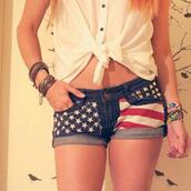 shorts,red white and blue,american flag,studs,stars