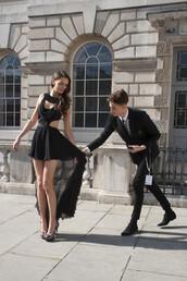 dress,little black dress,prom dress,high low,high-low dresses,model,heels,cut-out,couture,fashion,formal,short dress,designer dress,black dress