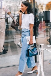jeans,blue jeans,denim,light blue jeans,shoes,bag,loewe bag,white t-shirt,t-shirt