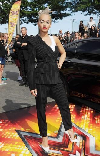 jacket blazer asymmetrical rita ora stripes pants pumps