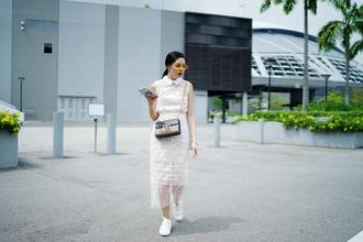 olivia lazuardy blogger sunglasses top skirt bag shoes sneakers crossbody bag midi dress white lace dress
