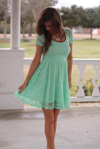 lace dress mint dress skater dress
