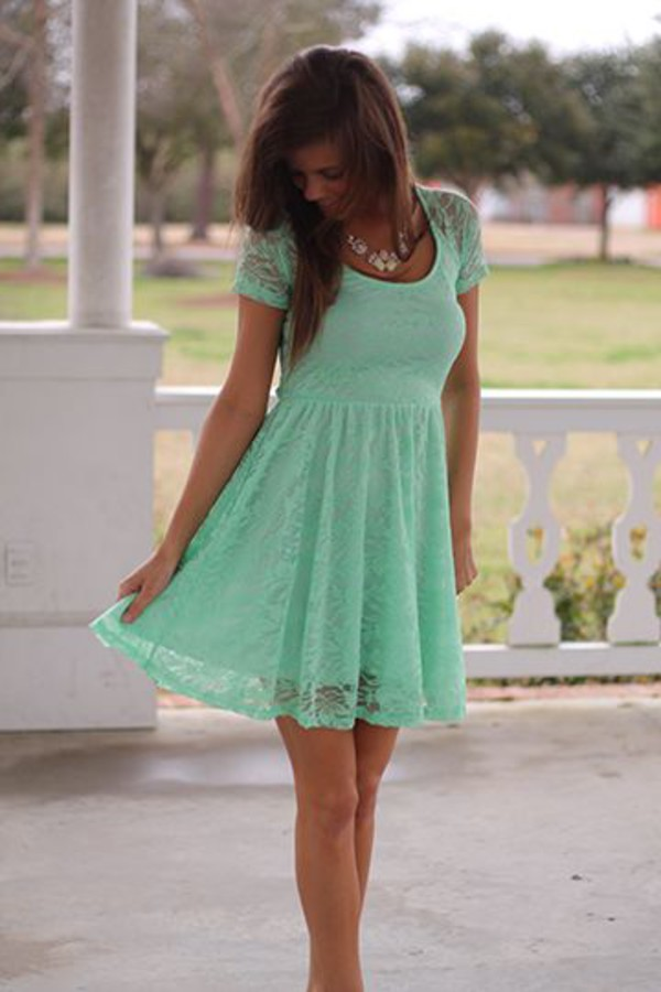 lace dress mint dress skater dress summer dress dress