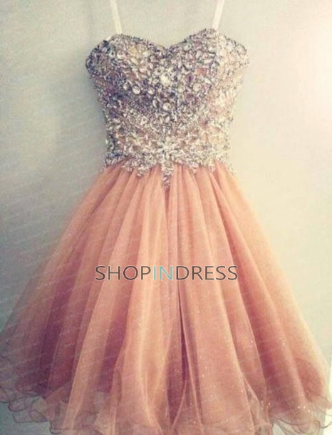 Line sweetheart short/mini organza pink prom dress with beaded npd098070 sale at shopindress.com