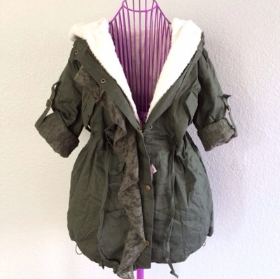 Hooded drape thickened green army jacket · doublelw · online store powered by storenvy
