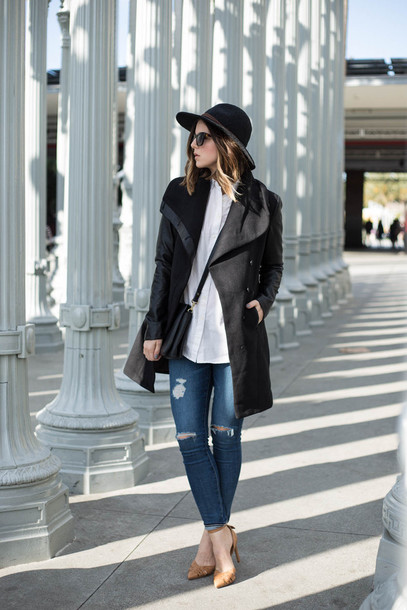 take aim blogger ripped jeans black coat white shirt jacket shirt jeans shoes jewels sunglasses
